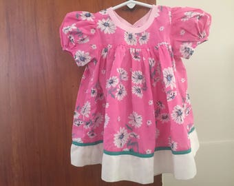 Vintage Baby Dress, pink floral dress baby vintage dress 12m puffed sleeves pink green pretty vintage baby clothes vintage toddler dress 18m