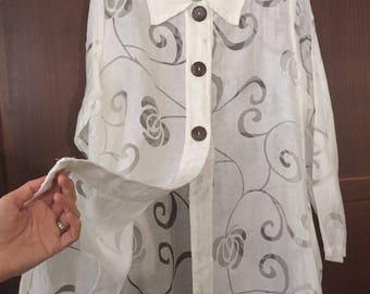 Sheer White Tunic Blouse, Vintage white bohemian blouse Long white kaftan blouse bohemian see through shirt dress white party playawear 9