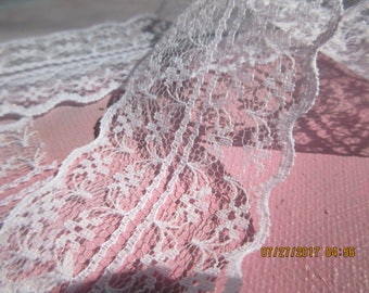 White Lace by the Yard, 2 Inches wide,   Nylon Lace, 2 yards