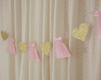 Baby Shower Banner, Blush Pink Party Decor, Gold and Pink Paper Garland, Baby Shower Decoration