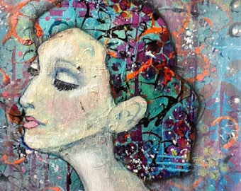 SALE Original Mixed Media Painting Audrey Hepburn Colorful Wall Art Wall Decor Very Unique Vibrant