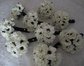 Reserved listing for...Kaela.....Bridal White Anemone with Inky Black Centers  Silk bridal Bouquet Set Wedding Bouquet