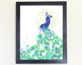 Peacock Spirit Animal Art Print Watercolor Totem Guide