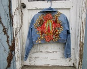 Reserved Balance// Virgen de Guadalupe Distressed Cropped Denim Jean Jacket// Virgin Mary// Religious Icon// emmevielle