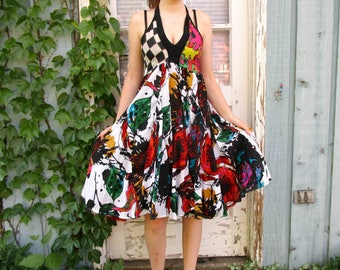 Upcycled Pop Art Halter Sundress// Small// Black Multi Colored// Summer// emmevielle