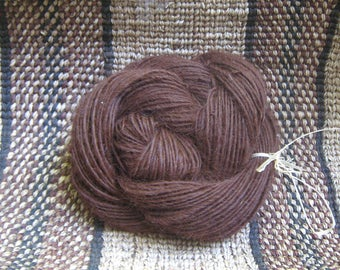 Fedora  Alpaca Handspun Yarn 3.8-oz 126 Yards Singles Luster Sleek Natural Dark Brown Alpaca Skein Approx. Worsted-wt Gently Thick Thin