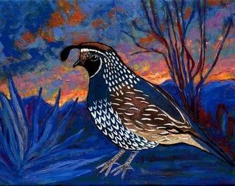 Original Bold Colored Quail Bird, bright Sunrise Painting, Framed in Black floater Frame/hunting/bird/texas