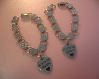 Two You're My Person Heart Charm Bracelets  Jewelry Gift
