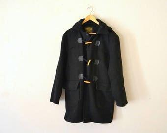 1980's Norwellan Black Wool Coat