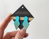 Laser cut earring | STUD: Turquoise A