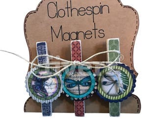 Fun Vintage Butterfly Graphic Clothespin Magnets