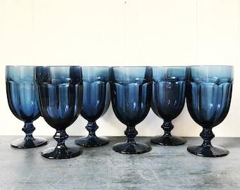 vintage navy blue glasses - Libbey Gibraltar Duratuff - pedestal water goblet - jewel tone boho wedding - Set of 6