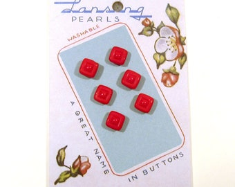 Diminutive Red Glass Sewing Buttons - Set of Six