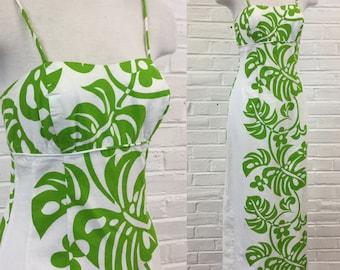 Vintage 1960s Apple Green and White Hawaiian Maxi Dress, size XS