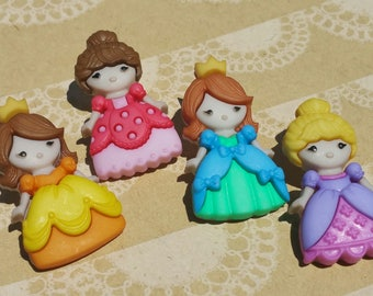 "Princess Buttons - Little Girls in Crowns and Dresses Sewing Button - 1 1/8"" Tall - 4 Buttons"