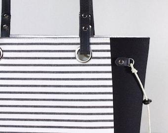 Black Stripe Tote Purse, Leather Strap Handles, Black & White, Ticking Shoulder bag, Medium Sized Purse, Handmade BunkyBags USA