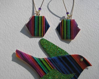 Signed Dalton Modernist Rainbow Stripe Bird Pin Pendant