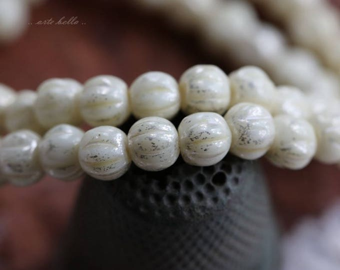 SILVERED CREAM MELONS No. 2 .. 50 Picasso Czech Melon Beads 4mm (5827-st)