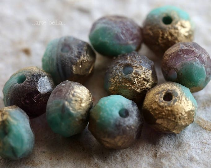 GRAPE TEAL STONES .. New 10 Premium Stone Picasso Czech Glass Beads 6x8-9mm (6024-10)