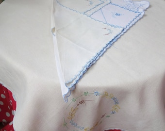 pretty embroidered blue tablecloth plus four napkins