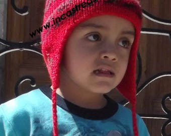 Alpaca Children hat Red Sunset FREE SHIPPING Worldwide