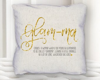 Throw Pillow Sofa Toss Pillow Glam Ma Grandma Glamma Home Decor Nana  Grandmother Hand Lettered