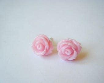 Earrings pink glitter - pink