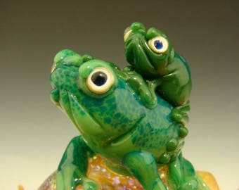 Dichroic Glass Frog Mom and Baby Paperweight Figurine Toad Marble Baby Shower Gift (Ready to Ship)