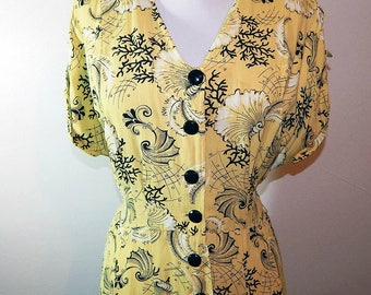 Vintage 40s yellow black rayon seashell novelty print day dress plus size XL