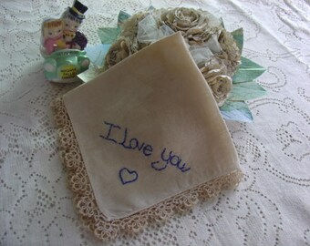 I Love You and Marry Me Handkerchief, Embroidery on vintage handkerchief, tea stained with tatted border, blue embroidered writing