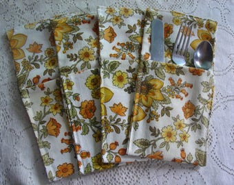 Set of Four Cutlery holders made from vintage upholstery fabric, White, yellow and green floral print, Picnics, BBQ, Housewarming Gift