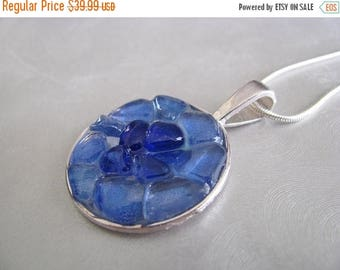 SEA GLASS SALE Sea Glass Jewelry - Cobalt and Cornflower Blue - Sea Glass Necklace - Beach Glass Jewelry
