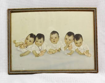 Vintage 1935 Framed Dionne Quintuplets Photo 14 1/2 by 10 3/4 Inches