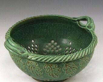 Green Carved Oak Leaf, Glaze Colander, Hand-Thrown, Stoneware, SHIPPING INCLUDED