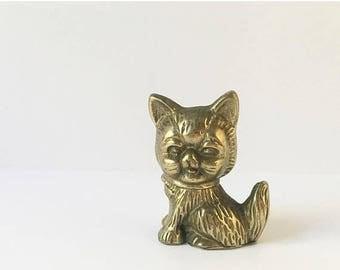 SALE Brass Cat Figurine Cat statue chachkies Cute Cat Kitten Figurine