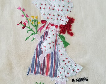 Vintage Embroidered Holly Hobbie on Linen
