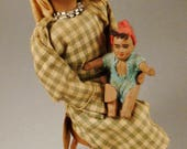 Reserved for Adam DOLL ISRAEL PALESTINE Papier Mache doll  mother and child  sitting on stool handcrafted Folk 6 1/2 x3x2 1/2 inches 1940s