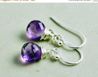 Summer Sale Amethyst Drop Earrings, Dangle Earrings, February Birthstone Earrings, Sterling Silver Drop Earrings