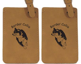 L1845 Border Collie Herding Personalized Luggage Tag