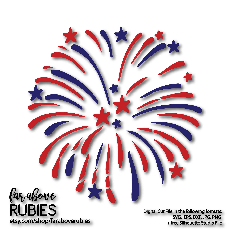 Fireworks with Stars SVG EPS dxf png jpg digital cut file
