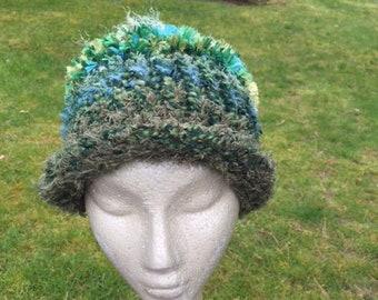 Green hand-knitted hat in acrylic novelty yarns (sku #2018-3Q)