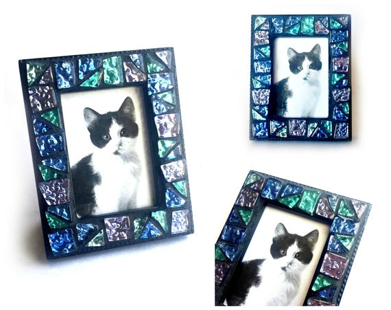 Blue Green Purple Mosaic Frame, Small Photo Frame, Sparkle Glass Tile Mosaic Frame, Mini Mosaic Frame, Blue Green Black Mosaic Frame