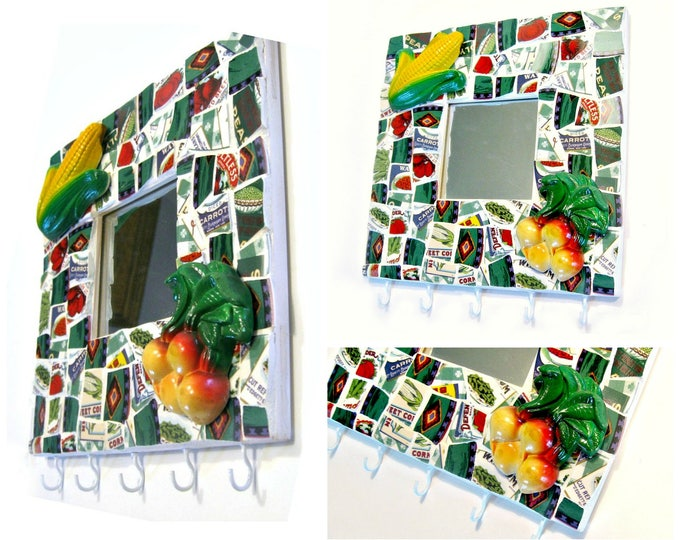 Mosaic Farm Theme Hooks and Mirror, Mosaic Kitchen Towel Pot Holder Rack, Repurposed Mosaic Pot Holder, Mosaic Garden Hooks Mirror Hanging