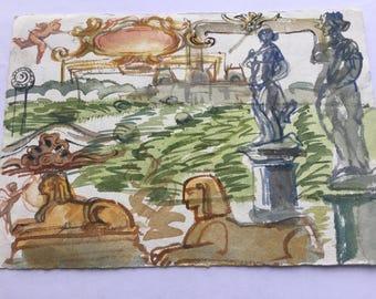 "Bordeaux sketch, 2-sided original watercolor, 5"" x 7"""