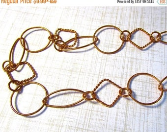 SALE 20% Off Copper Chain 3 Feet Foot Round Oval Square, Solid Copper Chain, Hand Wrought  Bulk Chain , Twisted Wire Chain