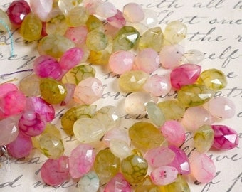 SALE Out Of TOWN Chalcedony Briolette Beads, Pink Cream Gold Chalcedony, Faceted Briolette Beads 8 Inches
