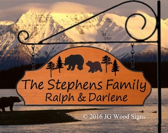 Carved Camping Sign Colored Bears w Pine Tree RV Sign w sign holder - Custom Carved Cedar Sign JGWoodSign Etsy Personalized RV Sign Stephens