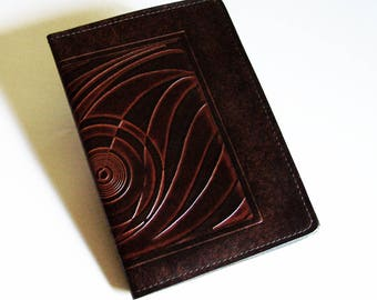 """Leather Journal Cover - Moleskine Notebook Cover - Fits 5"""" x 8.25"""" Cahiers - Art Deco Pattern"""