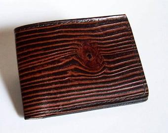 "Men's Leather Wallet - Wood Grain Wallet - Thin Bi-fold with Woodgrain Design - ""B"" Style Interior"