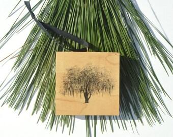 Hunter Oak Tree Savannah Wood Block Christmas Ornament